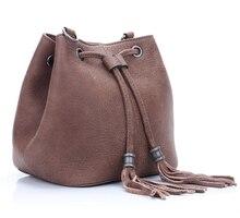 Women leather bucket bag fashion genuine leather drawstring bucket shoulder bag female leather bucket bag women small bag