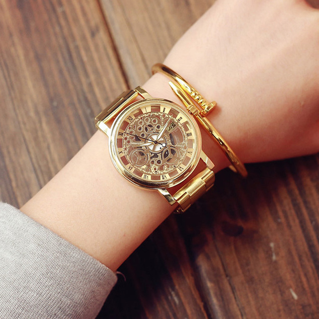 New Fashion Brand Hollow Watch Neutral Personality Golden Unique Wrist Watches M