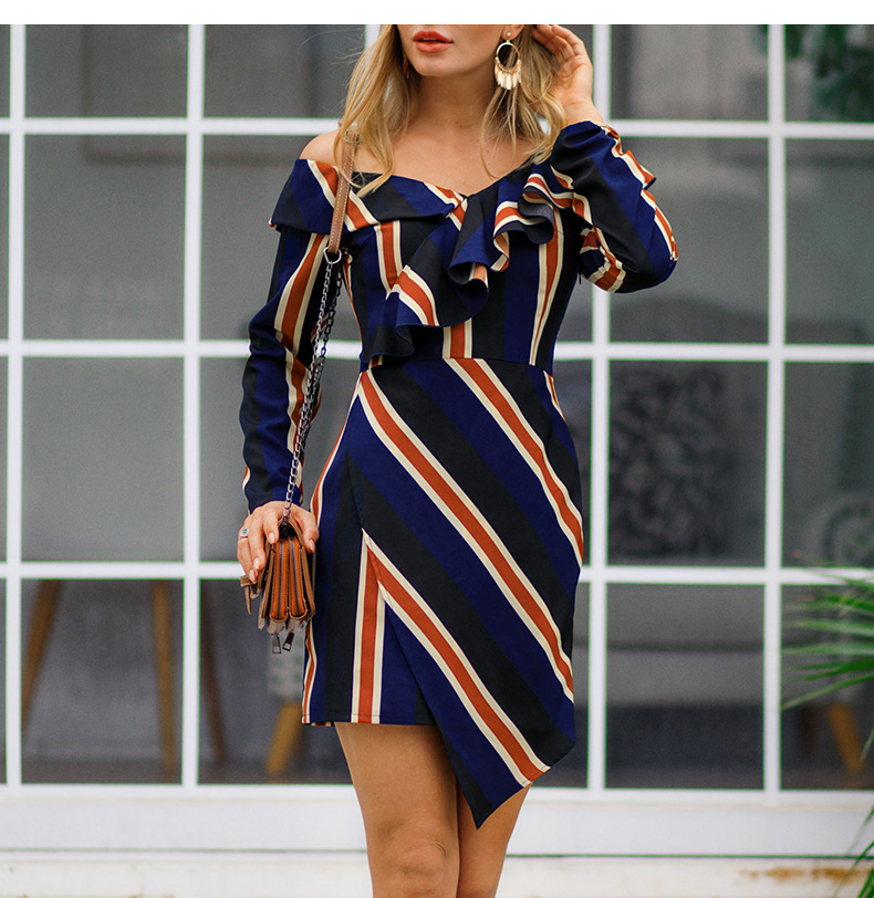 Off The Shoulder Sexy V Neck Striped Women Dress Vintage Ruffles Irregular Short Casual Long Sleeve Dresses Vestido in Dresses from Women 39 s Clothing