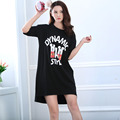 The new 2016 hot summer women cotton black nightgowns knee-length and round neck free shipping