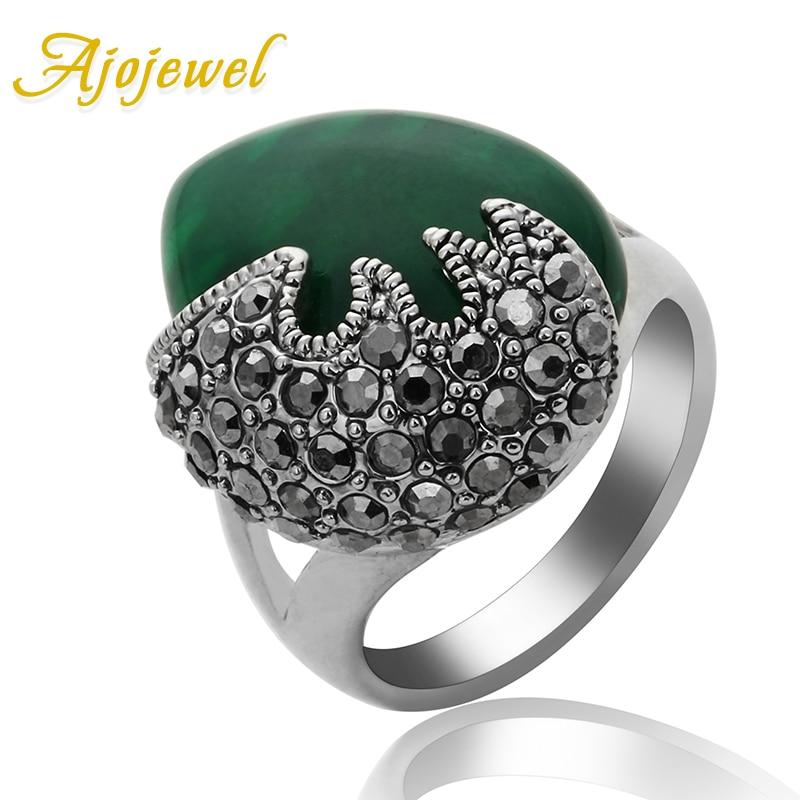 Ajojewel Anelli Donna Vintage Svart Rhinestone Women Rings Miljövänliga Green Resin Stone Smycken Bague Femme