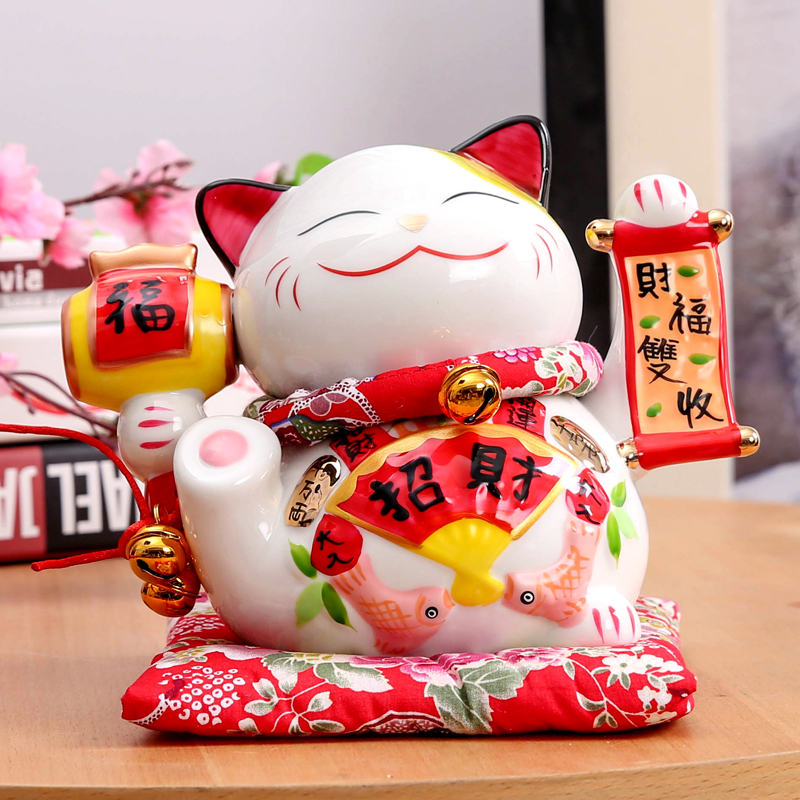 7 pouce En Céramique Maneki Neko Chat Chanceux Tirelire Fortune Chat Porcelaine Statue Tirelire
