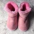 Жесткий подошве сапоги мягкий мех теплая зима натуральная кожа ребенка девушка сапоги мокасины обувь дети leopard малышей moccas мягкие детские загрузки