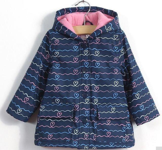 2017 new children girls coat for spring autumn soft fleece bule jacket hooded cute outwear coats clothing