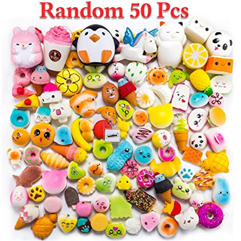Random 50pcs Food Squishy Toy Antistress Ball Squeeze Fun Joke Rising Toys Abreact Soft Sticky Squishi Stress Relief Toys Funny