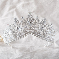 SLBRIDAL Bride Tiaras And Crowns Silver Gold Color Hair Crown Full Cystal Rhinestone Large Queen Crown