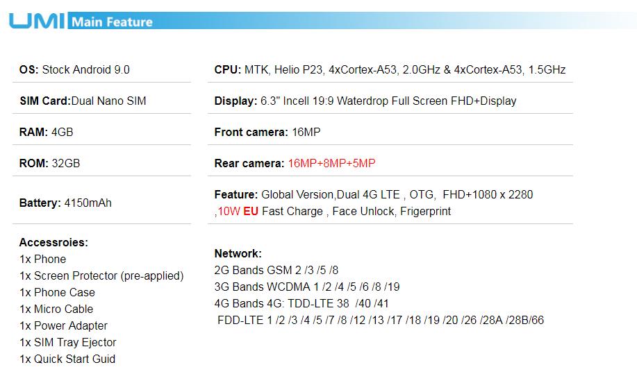 UMIDIGI A5 PRO Android 9.0 Octa Core Mobile Phone 6.3' FHD+ 16MP Triple Camera 4150mAh 4GB RAM 32G ROM Smartphone gsm unlocked