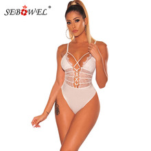 SEBOWEL Sexy White Sheer Floral Lace up Bodysuits Woman Summer 2019 Black Strappy Ladies Sleeveless Body Tops Clothes Bodysuit