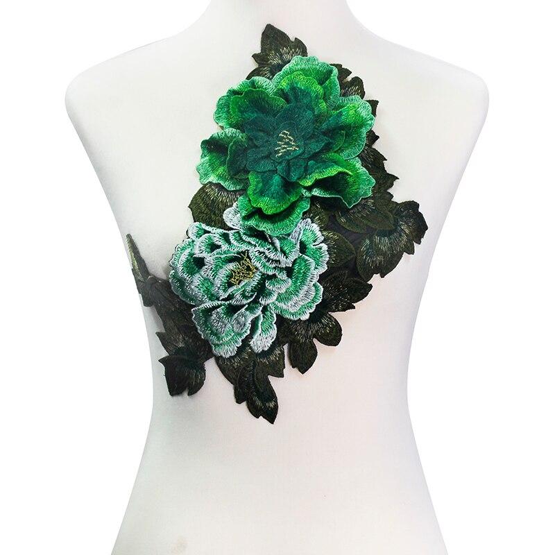 5 kusů 3D zelené pivoňky krajkové výšivky nášivka Pacthes krajka tkanina motiv Venise Scrapbooking oblečení šicí příslušenství T2134