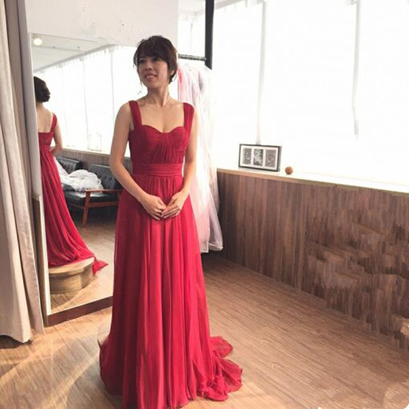 Cheap 2019 Wide Straps Sweetheart Burgundy Chiffon Long Bridesmaid Dress vestido de festa de casamento