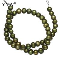 Top Quality Natural Green Round Shaped Freshwater Pearl Gemstone Beads Strand 15 For DIY Necklace Jewelry