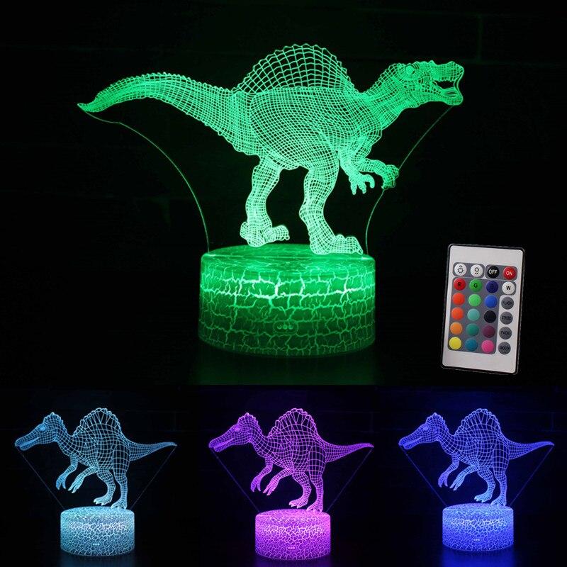 Jurassic Spinosaurus Dinosaur Toys 3D Led Dinosaur Light 7 Color Glow In The Dark Dinosaur Gifts For Birthday Christmas New Year