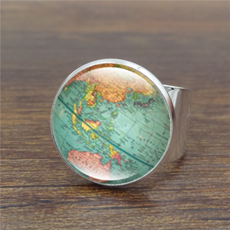 Vintage globe ring planet earth world map art glass dome ancient vintage globe ring planet earth world map art glass dome ancient bronze rings for women men jewelry in rings from jewelry accessories on aliexpress gumiabroncs