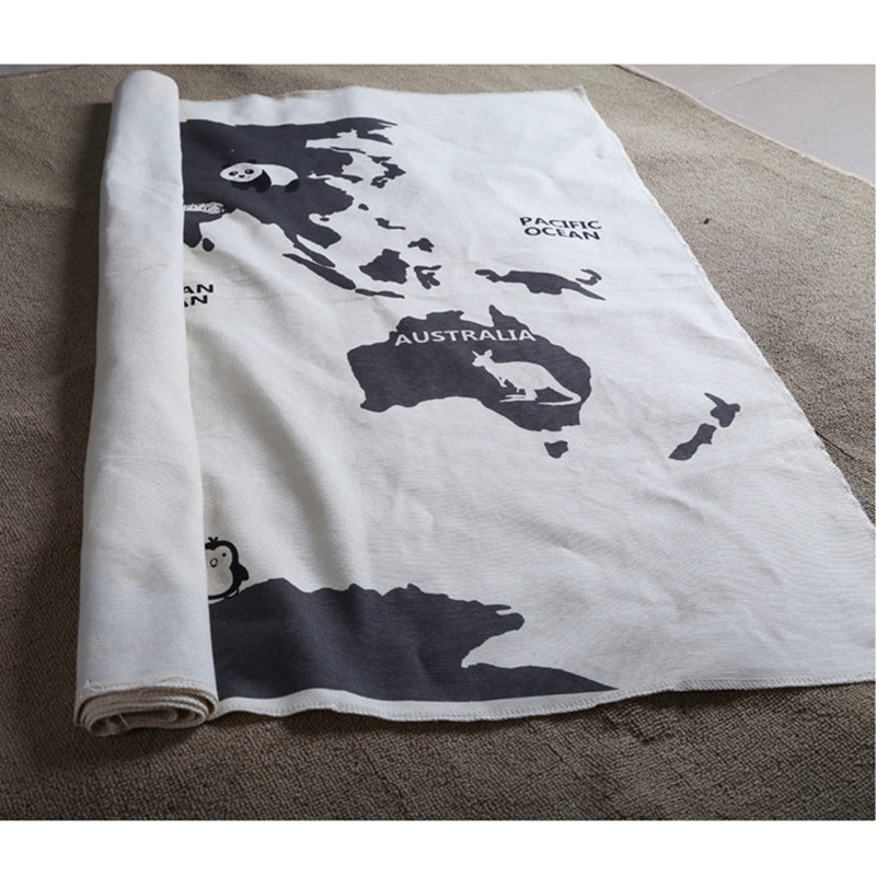 Kids Playing Mats Crawling Rugs World Map Blanket Educational Baby Play Mat Room Decoration Floor Decor Carpet 140*90CM