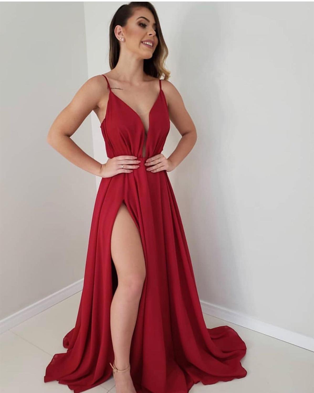 Robe De soirée 2019 Simple rouge Robe De soirée longue Sexy profonde col en V fente robes De bal Spaghetti sangle formelle Robe De soirée - 6