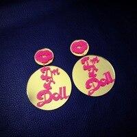 E4 I AM DOLL Circle Mirrow Acrylic Stud Earring 8 Pcs Lot