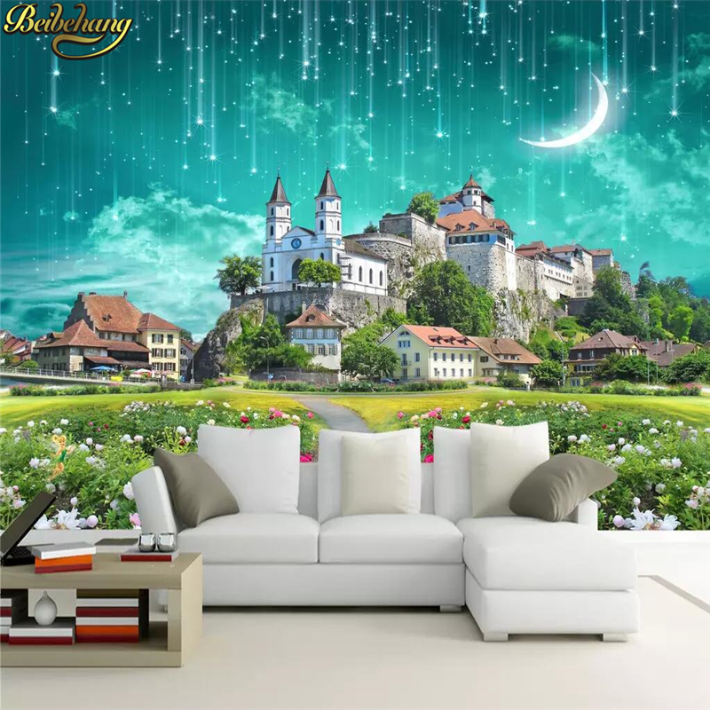 beibehang custom Fantasy castle meteor shower Photo Wallpaper Painting Large Wall Mural Wallpaper Hotel Living Rom Wall Covering Обои