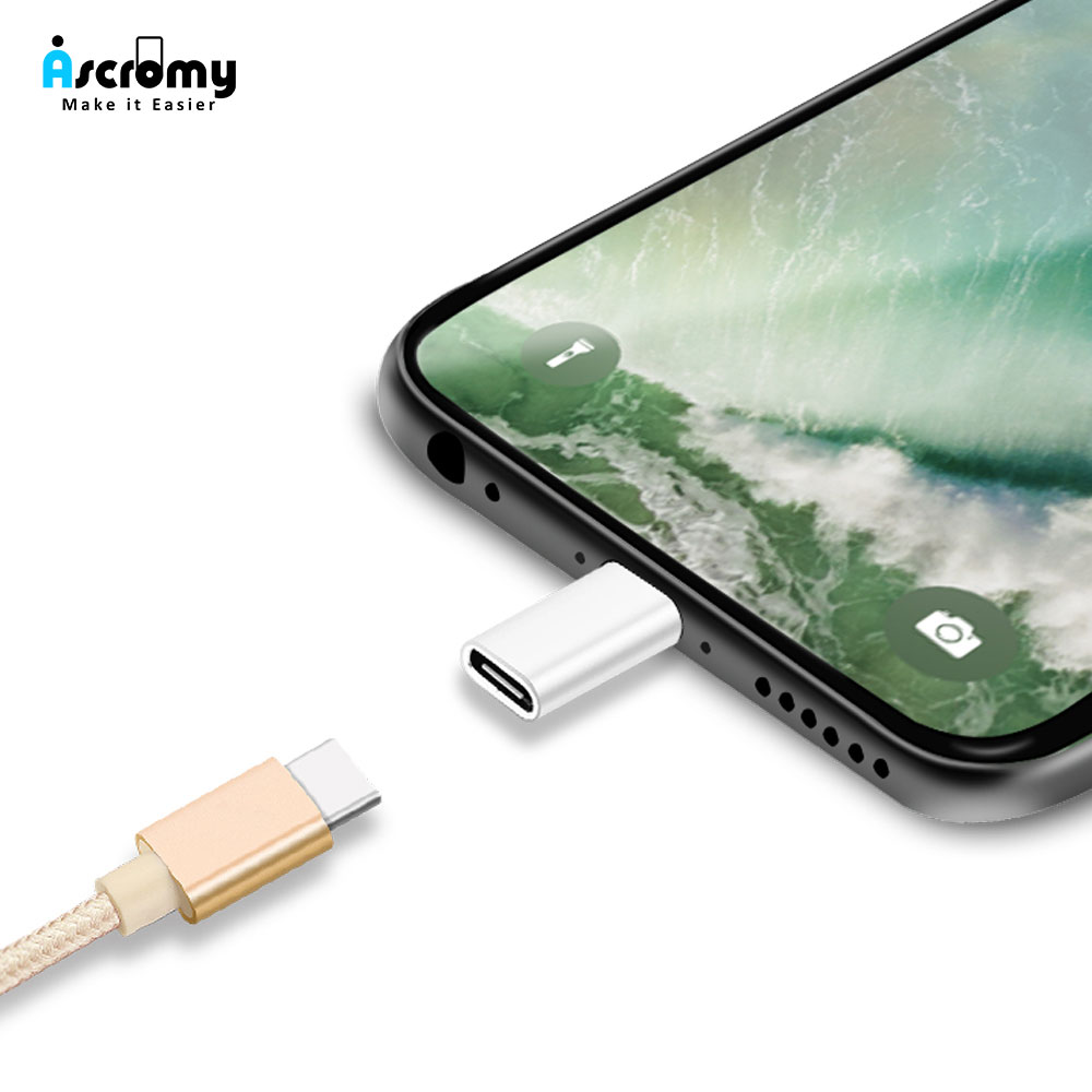 quality design 8fdfe 33d09 US $0.99 |Ascromy Type c to 8pin Adapter Charger Converter for Apple iPhone  XS Max X S XR 7 8 Plus 10 6 6S 5 5S SE Charge USB C Connector-in Mobile ...