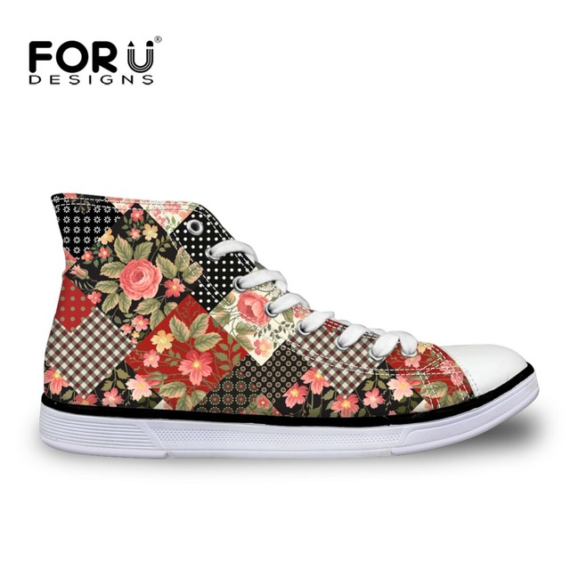 26cf99b186 Bohemia Canvas Shoes Pattern for men Vintage Floral Patchwork Printed  Fashion Girls High-top Shoes Ladies Casual Flats Shoes