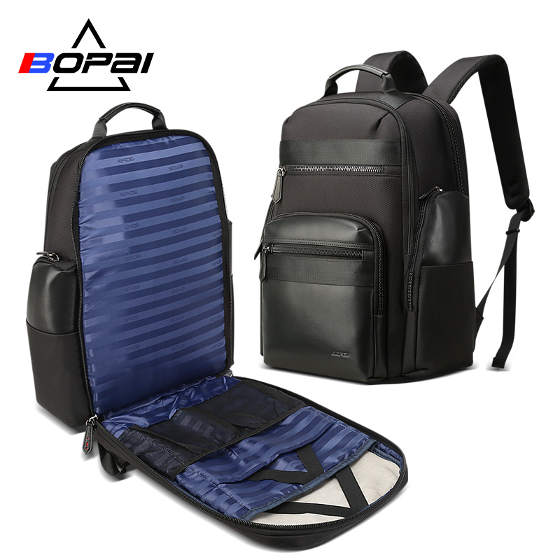 BOPAI hommes voyage sac à dos grande capacité Anti voleur USB charge 17 pouces sac à dos pour ordinateur portable en cuir mode affaires sac à dos hommes-in Sacs à dos from Baggages et sacs    1