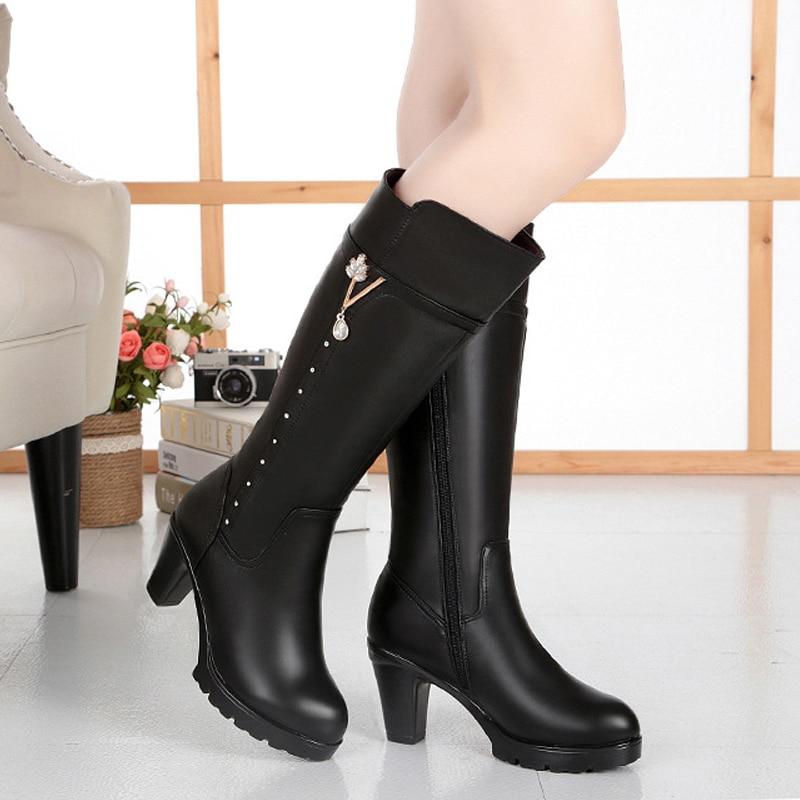 Chaussures brown En Véritable 8cm 8cm black Caoutchouc Sondr Sapatos brown Plate Femmes Laine Talon Botas Haute Hiver Noir Brun 7cm 7cm Bottes Mujer Mulher Black Altas forme Cuir Longues 4qL5Rj3A