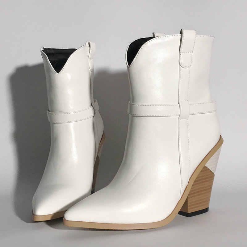 Kış marka tasarım yarım çizmeler kadınlar için Faux deri kovboy botlar takozlar topuk yılan baskı çizmeler bayanlar batı artı boyutu ayakkabı
