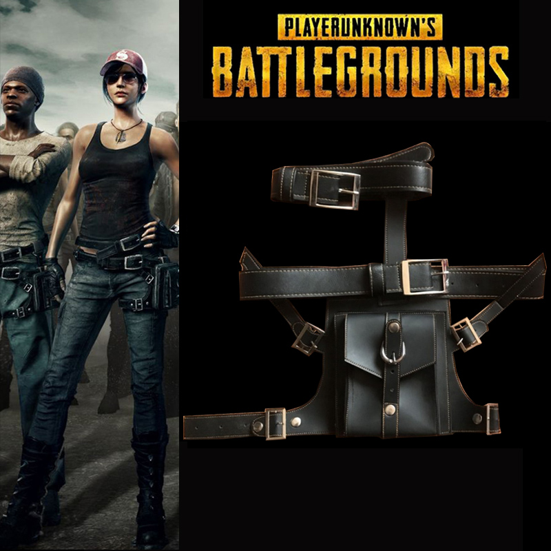 New Arrival Hot Game PUBG Bag Playerunknown's Battlegrounds Cosplay Accessories PU Leather Waist Bag Belt Group Full Set