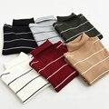 2017 Primavera Nuevas Mujeres de la Llegada suéteres Casuales Suéteres de Punto Jersey de Otoño Flojo de Rayas de Cuello Alto Suéteres de 6 Colores
