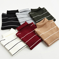 2017 Spring New Arrival Women Casual Pullovers Sweaters Knitted Sweater Autumn Loose Striped Turtleneck Sweaters 6 Colors