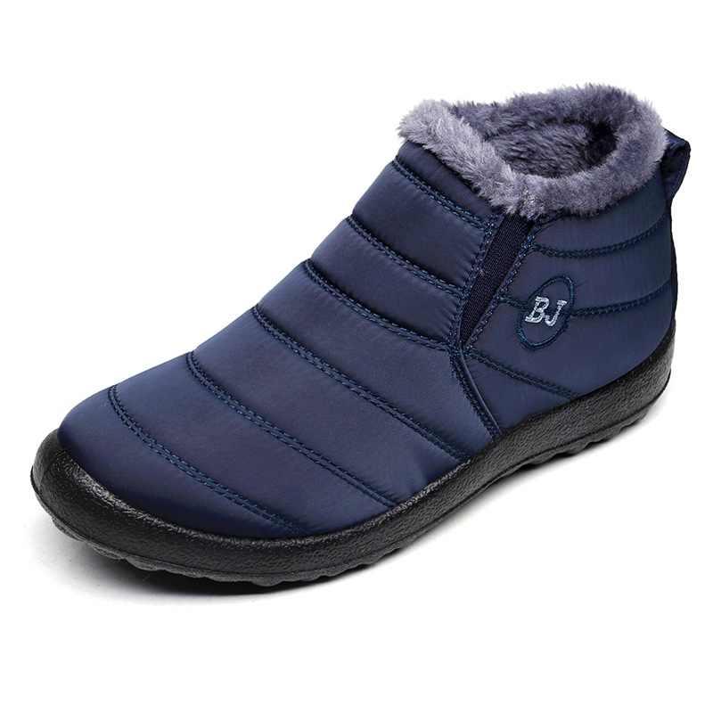 2019 Mannen Laarzen Winter Met Bont Warme Snowboots Mannen Winter Laarzen Werken Schoen Mannen Schoenen Mode Mannen Enkel Schoenen plus Size 36-46