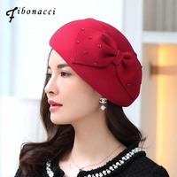 Fibonacci Elegant Female Berets Wool Felt Cap Bow Sequin Embellishment Beret Hats for Women Church Dinner Formal Fedoras