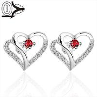 2016 New Designer Silver Plated Earring,Wedding Jewelry Accessories,Inlaid Red Stone Heart Silver Women Earrings