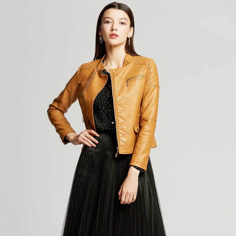 NXH 2019 yellow leather jacket women autumn coat plus size luxury jacket biker jacket women  faux leather Red black pink