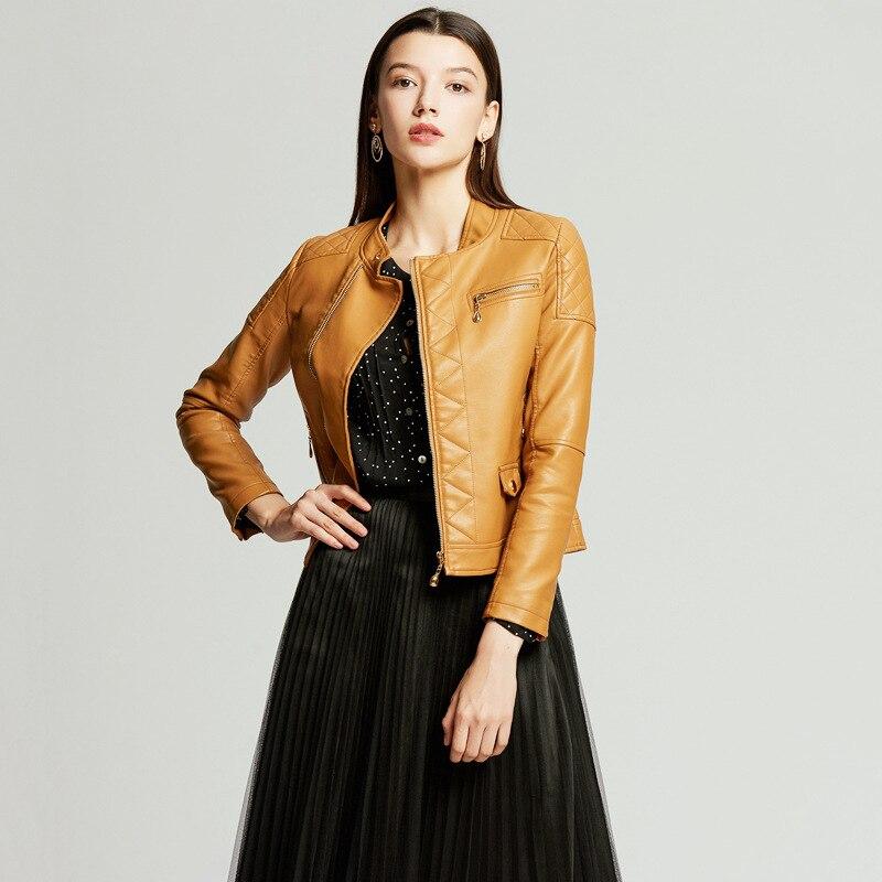 NXH 2019 yellow leather jacket women autumn coat plus size luxury biker  faux Red black pink
