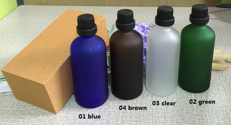 4pcs 100ml High-grade frosted essential oil bottle with wooden box packing black cap glass bottle,lotion cosmetics powder jar cosmetics 50g bottle chinese herb ligusticum chuanxiong extract essential base oil organic cold pressed