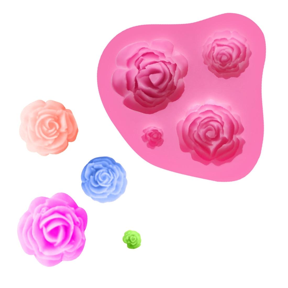 ღ Ƹ̵̡Ӝ̵̨̄Ʒ ღ1 unid 3D cocina Accesorios Rose flor forma Jabones ...