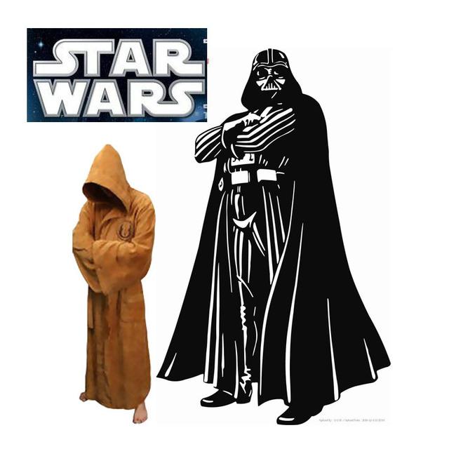 Star Wars Darth Vader Terry Jedi albornoz para hombre del traje del traje marrón / Cosplay traje negro