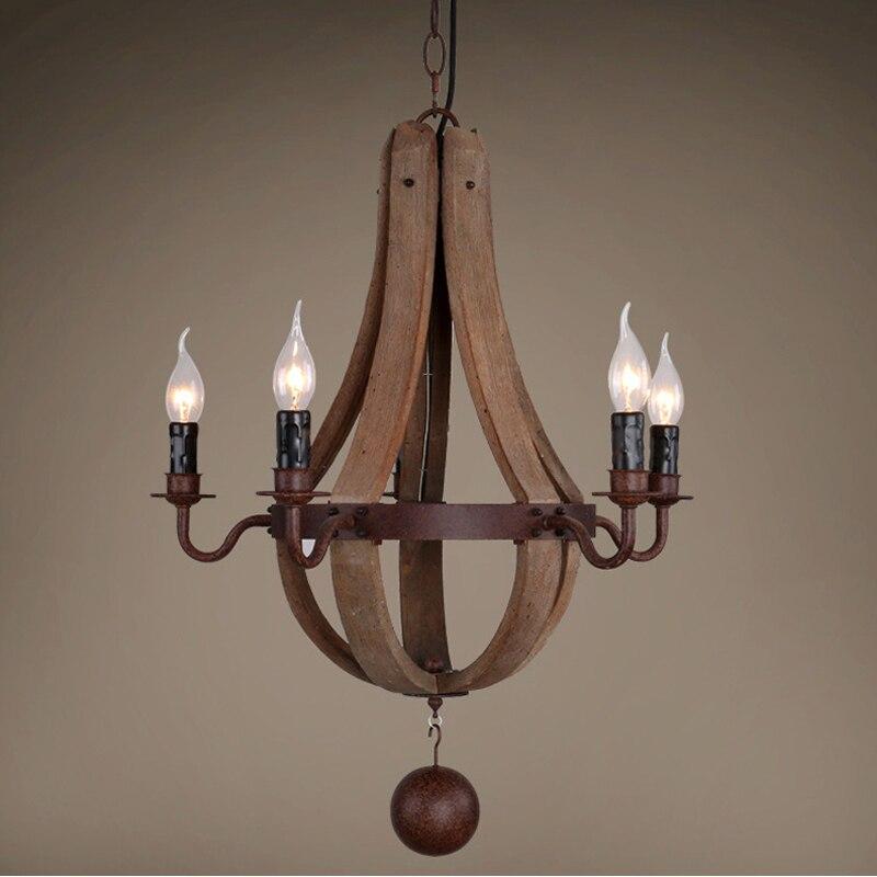Деревянная люстра Ретро люстры для гостиной спальни люстра в стиле лофт Bois винтажный домашний декор американский деревенский сельский све