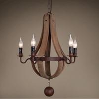 American Country Rural Wooden chandelier For Living Room Bedroom Retro Chandeliers Loft Lustre Bois Vintage Home Decor Light