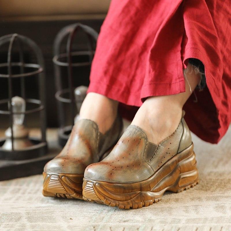 Início da primavera de moda de nova cabeça redonda de couro grosso das mulheres selvagens sapatos de cunha confortável com sapatos único. - 3
