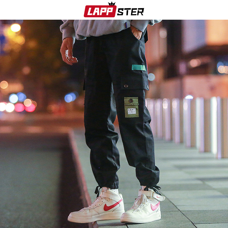 LAPPSTER Hip Hop Joggers Pants 2020 Overalls Men Pockets Streetwear Cargo Pants Black Sweatpants Casual Korean Fashion Trousers
