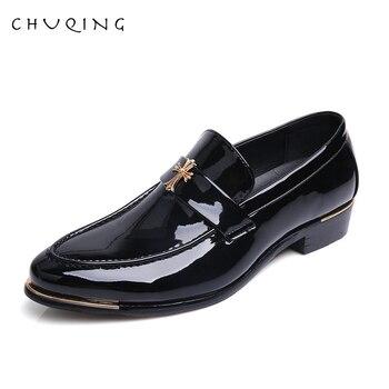 CHUQING cuero hombres borla Loafer zapatos Slip on Mens vestido zapatos boda fiesta Formal zapatos