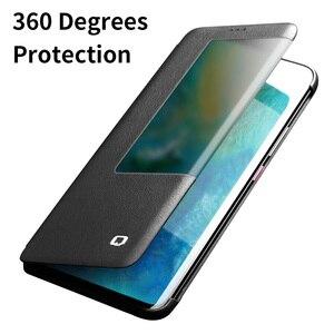 Image 2 - QIALINO Luxus Echtem Leder Flip Fall für Huawei Mate 20 Pro Stilvolle Handgemachte Ultra Slim Smart View Telefon Abdeckung für mate 20/X