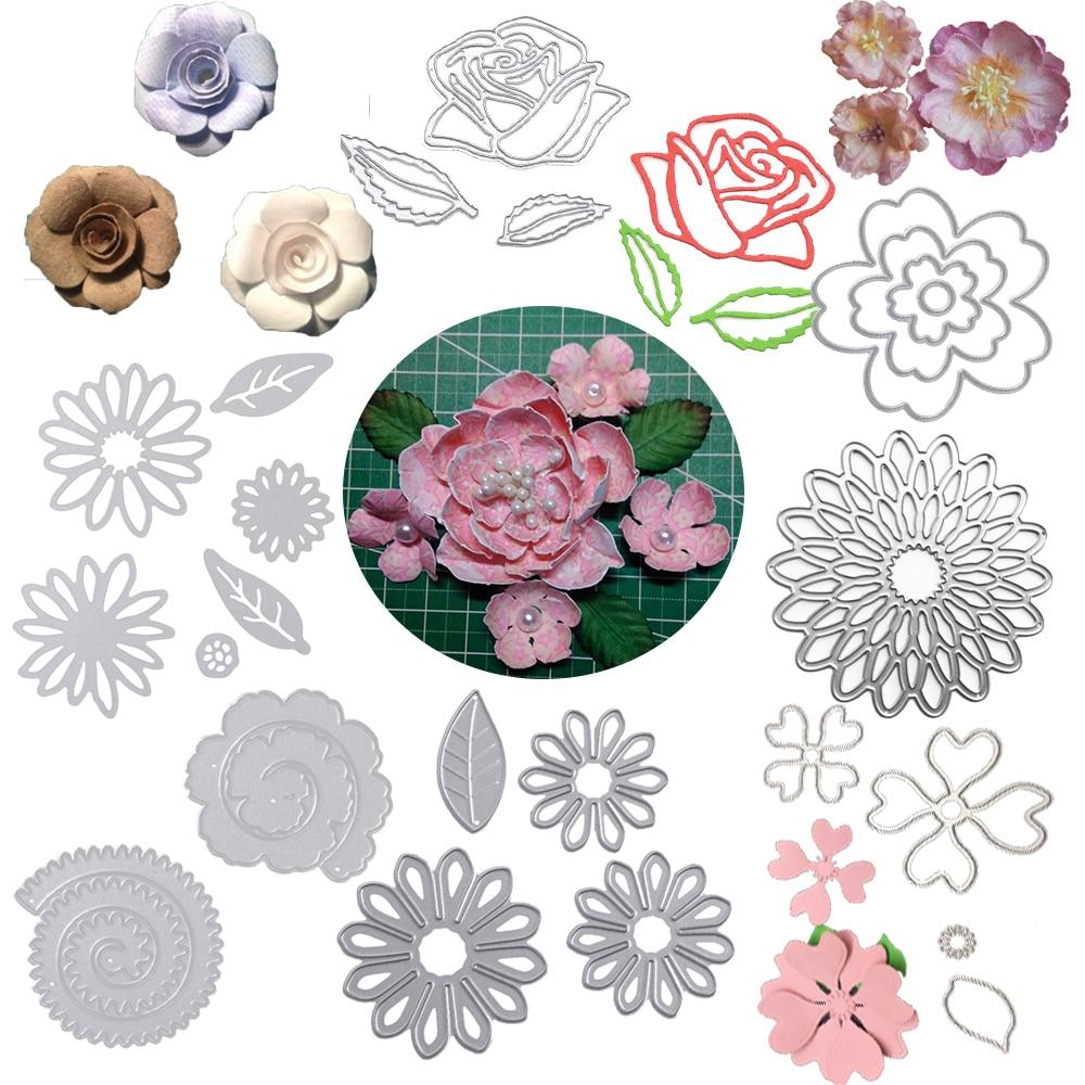 Bottone Die Cuts Flower Combination Metal Cutting Dies Stamps