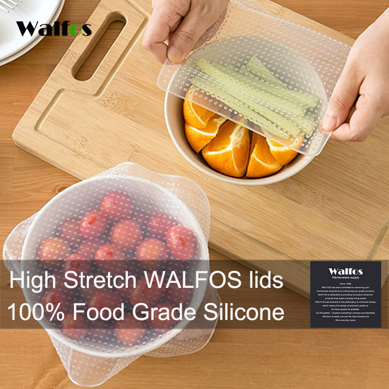 Jenama WALFOS yang sebenar 1 unit gred makanan Silicone Wraps Seal Cover Stretch Cling Film Food Fresh Keep Kitchen Tools