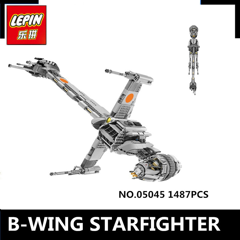 IN STOCK Lepin 05045 New 1487Pcs Genuine  Series The B-wing Starfighter Building Blocks Bricks Educational Toys 10227 lepin 05040 y attack starfighter wing building block assembled brick star series war toys compatible with 10134 educational gift