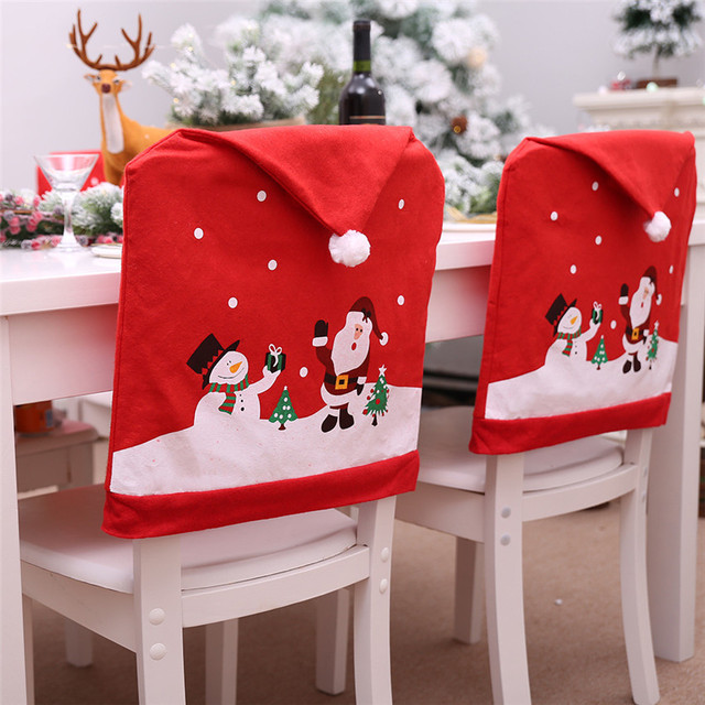 Santa Claus Christmas Red Hat Chair Back Cover