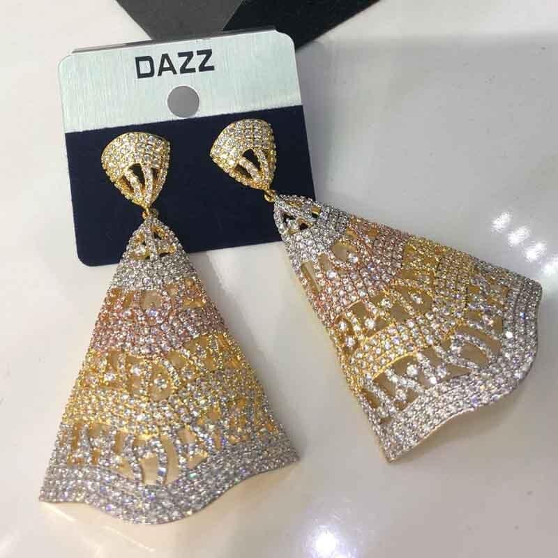 Dazz boucles d'oreilles de luxe Dangle exclusif cubique AAA Zircon plante feuille femmes africaines mariage nigérian robe de mariée bijoux de mode