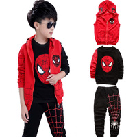 3 Pieces Boys Clothing Sets 2017 New Autumn Children Clothes For Teenagers Spider Man Sport Suit
