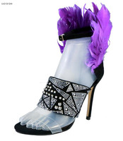 2018 women fashion party shoes purple feather sandals dress shoes rhinestone stud sandals open toe gold sandals thin heel